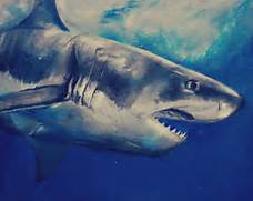 Great White Shark Art The great white shark by ahsr  Great White Shark Painting