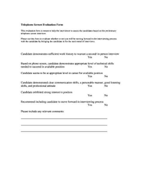 phone screen questions template phone screen evaluation fill printable fillable blank pdffiller