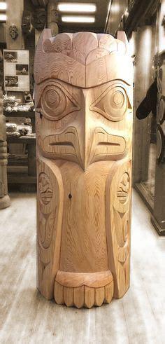 owl totem  terry horne wood art tiki totem wood