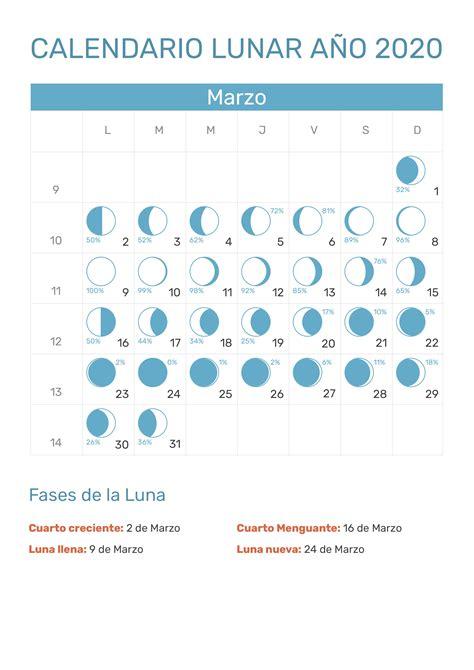 calendario lunar marzo ano fases lunares