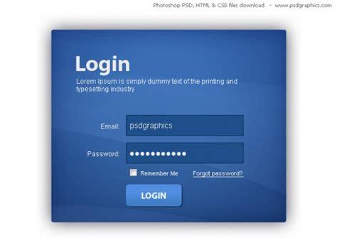 html login page template azul caixa de login html e css template psd psd gratuito