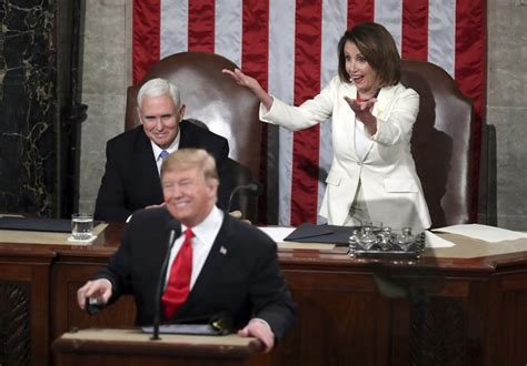 pelosi trump nancy union state address democrats gestures sotu reactions congress face president during fellow acknowledges harnik andrew speaker pence