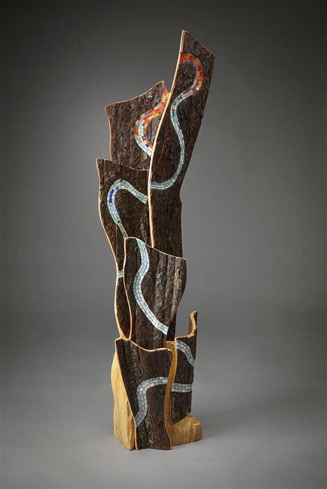 waters pathway  aaron laux art glass wood sculpture