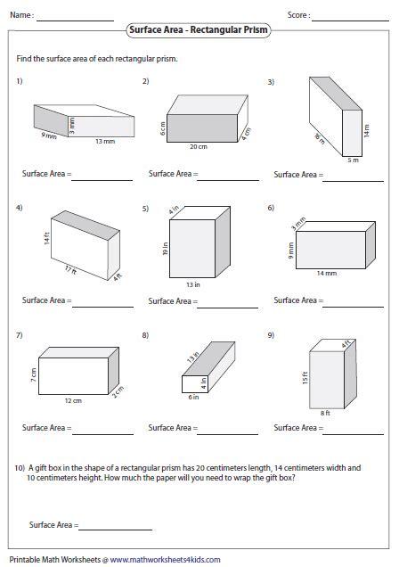 surface area of rectangular prisms škola geometrie