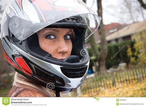 Woman Wearing A Helmet Stock Image. Image Of Looking
