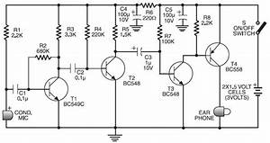cheap hearing aid circuit electronic schematic design With the original 2 phone link design circuit