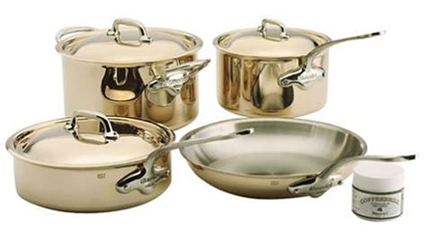 mauviel  cuprinox style  piece stainless steel lined copper cookware set awaganeneme