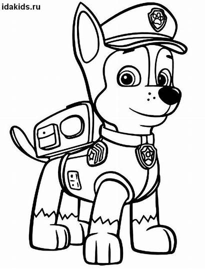 Paw Patrol Coloring Pages Chase Colouring Printable
