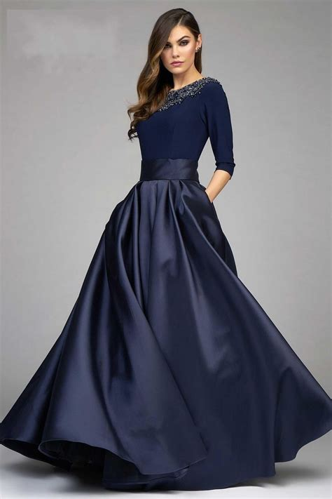 fashion ball gown dresses evening wear navy blue long