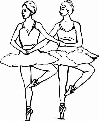 Coloring Ballerina Ballet Pages Dancer Synchronize Duo