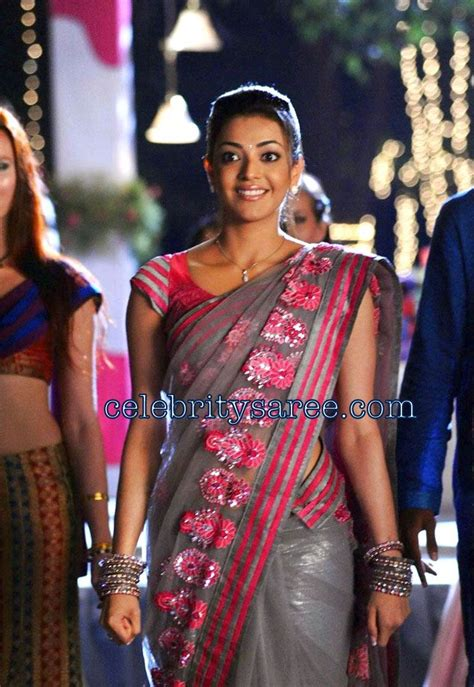 kajal agarwal  netted embroidery saree saree blouse