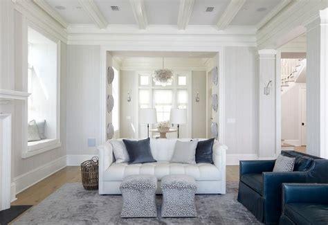 white  blue living room  window seat alcove