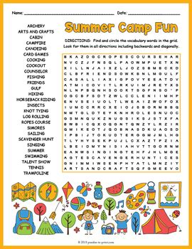 summer camp activity word search puzzle fun  puzzles
