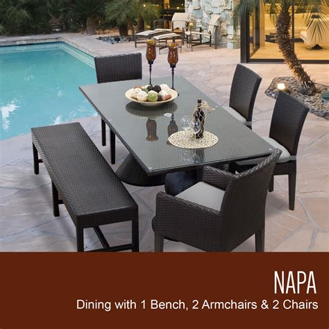 Patio Dining Sets With Bench Seating by Napa Rectangular Outdoor Patio Dining Table With 4 Chairs