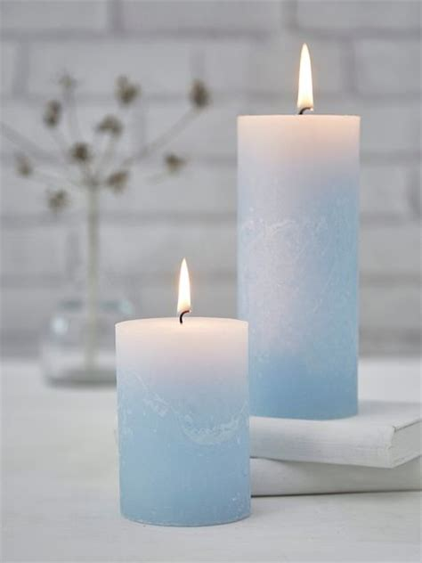 rustic pillar candles pale blue nordic house