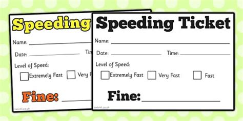Speeding Ticket by Car Speeding Ticket Play Speeding Car Ticket