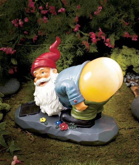 solar power lighted mooning gnome statue outdoor garden