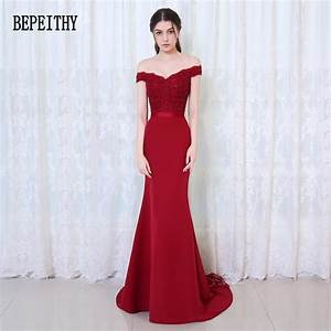bepeithy robe de soiree mermaid burgundy long evening With robes de soirees