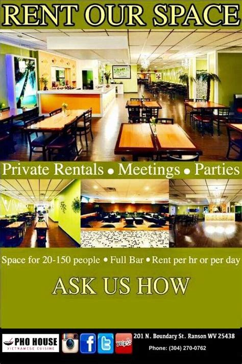 Rent A For A Day by Rent Our Space Pho House Food Asian Food