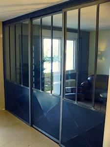 verriere interieur acier verriere et porte coulissante With porte de garage et porte intérieure type atelier
