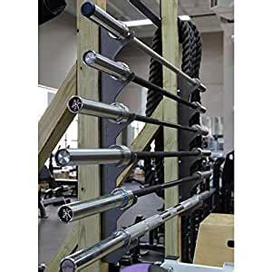 amazoncom cff wall mounted olympic bar storage rack sports outdoors