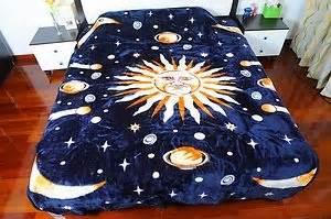 black sun moon  star microfiber raschel plush blanket