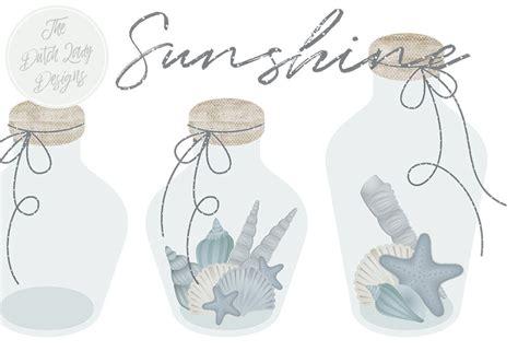 sea beach glass bottle clipart set   dutch lady