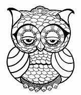 Coloring Easy Pages Adults Owl Zen sketch template