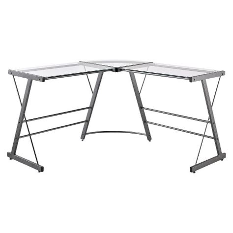 glass top l shaped desk executive l shaped glass top desk grey altra target