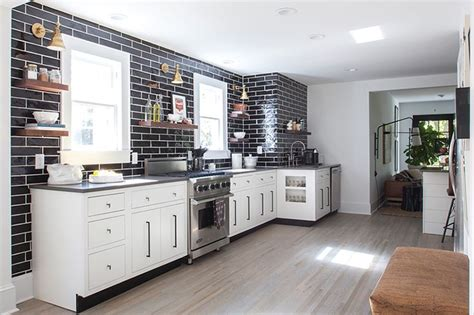 Black Backsplash Kitchen by Black Subway Tile In The Kitchen Is More Striking Without