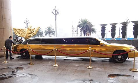 Lax Limousine by Bling Lincoln Town Car Stretched Limousine Is Gold In