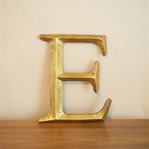 Gilded wooden letter e vintage initial e wall letter for Gold lettering for walls
