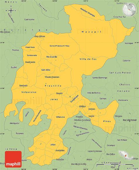 savanna style simple map  zacatecas