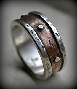 mens rustic wedding ring rustic fine silver and copper ring With rustic mens wedding rings