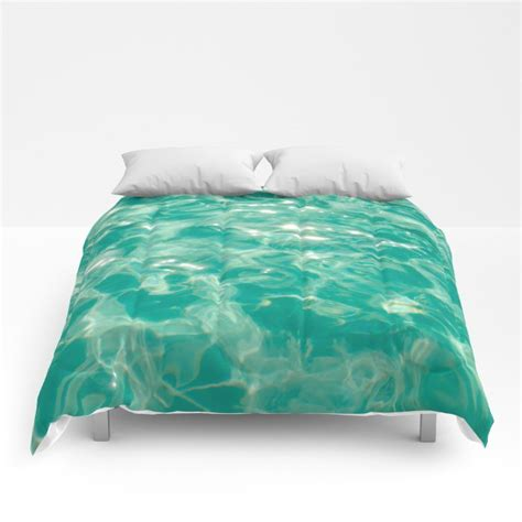 turquoise sparkly water comforter ocean beach coastal