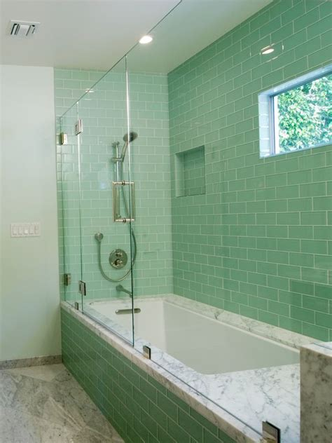 Sample Of Lush Surf Pale Green  3x6 Glass Subway Tile