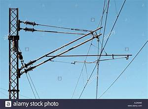 Electrical Railway Pylon and Overhead Wires Supplying ...
