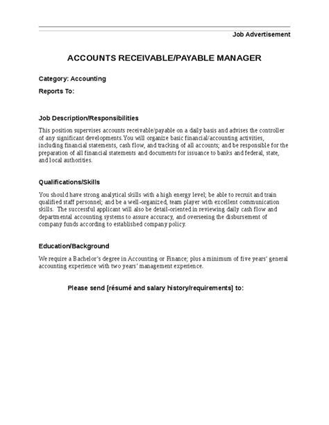 Accounts Payable Coordinator Description Uk by Accounts Receivable Payable Manager Description Hashdoc