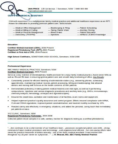 medical assistant resume sle 8 exles in word pdf