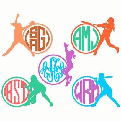 Softball Monogram Svg Designs Cuttable Cricut Vinyl