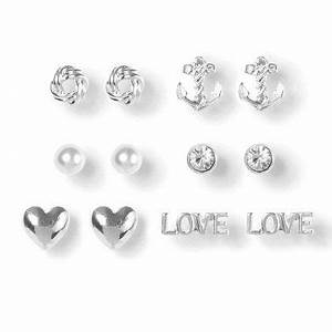Nautical Themed LOVE Stud Earrings Set of 6 | Claire's ...