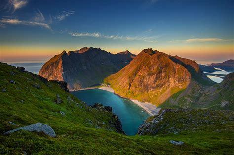 Mountain, Beach, Summer, Sand, Norway, Sunset, Sea, Grass