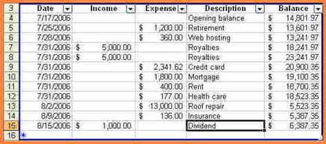 personal income  expenses spreadsheet excel