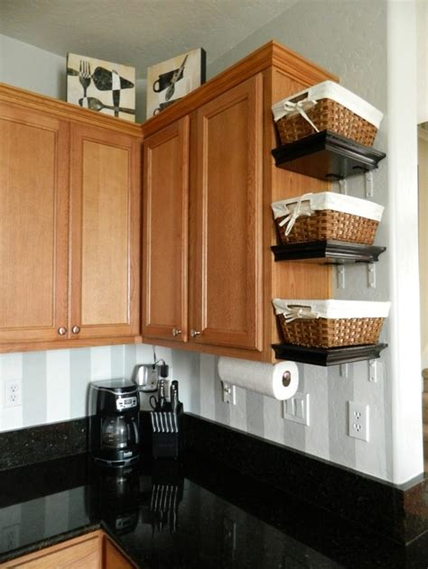 empty space   side  kitchen cabinets