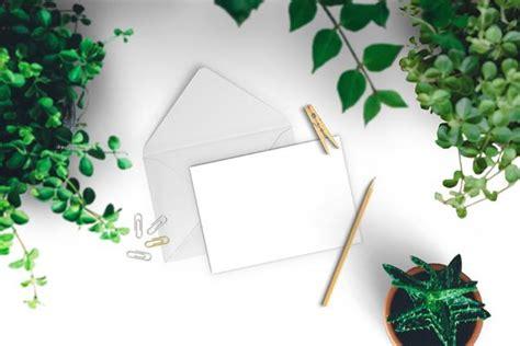 fresh greeting card mockup  green leaves
