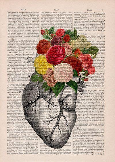 Springtime Heart Decorative Art Flowers Skull Nature