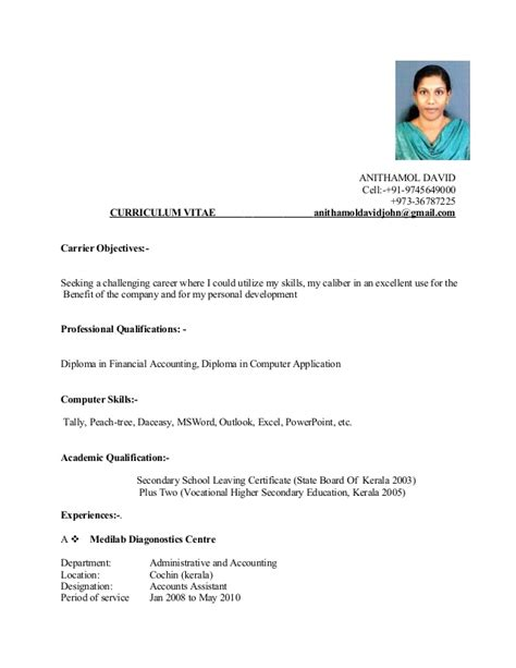 Cv Details Exle by Cv Anitha