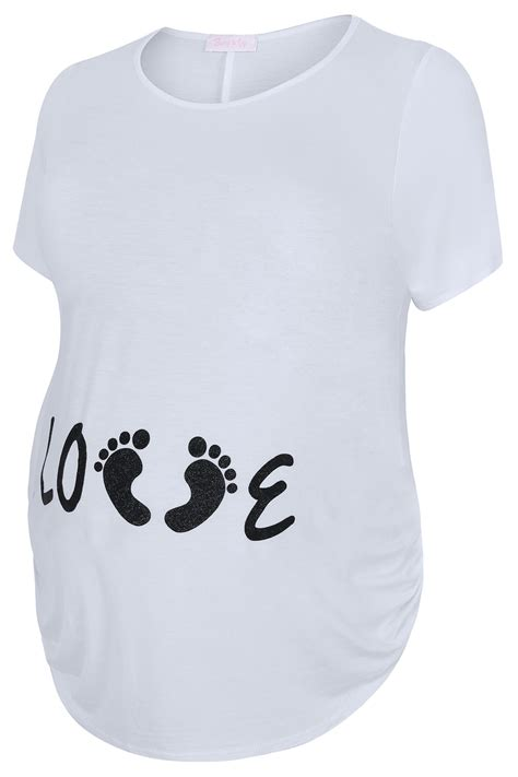 "Bump It Up Maternity  Top Blanc Avec Slogan ""love"
