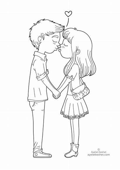 Coloring Pages Feelings Kiss Kissing Ayeletkeshet Boy