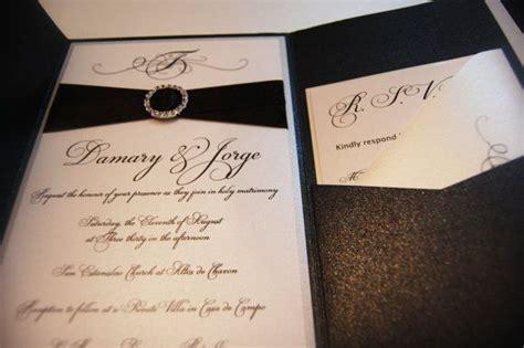 pocketfold wedding invitations rhinestone buckle